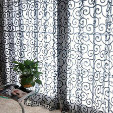 Stylish Floral Tulle Voile Door Window Curtains Drape Sheer Scarf Valances Black