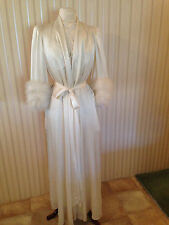 Vintage Lucie Ann RARE Ivory Peignoir Lingerie Set with Ostrich Feathers