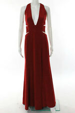 KaufmanFranco Red Blood Deep V Articulated Column Gown Size 2 New 10327271