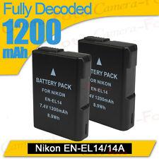2XLI-ion Battery for Nikon EN-EL14  COOLPIX D3100 D3200 P7000 P7700 camera DSLR