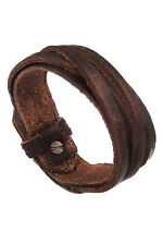 Men Women Unisex Multi thong braided thin Faux Leather Bracelet wristband Brown