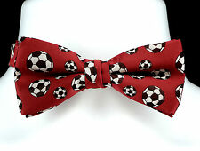 Soccer Balls Mens Bow Tie Pre Tied Adjustable Neck Sports Fan Red Bowtie New