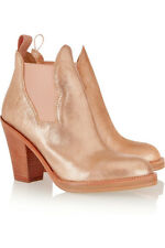 New Acne Pink Metallic Chelsea Leather Ankle Boots  37 uk 4
