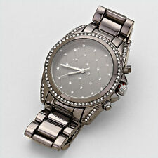 Gun Metal Kaelin Stainless Steel Argyle Crystal Bedazzled Womens Watch