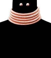 "Cord Choker Necklace 2"" Wide 5 Row Layer Rope Chain Link PINK Celebrity Style"
