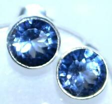 Mystic Blue Quartz 925 Sterling SILVER Earrings Solitaire stud Earring Jewellery