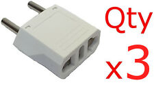 Europe EU Euro Round Plug Adapter 3PK- American US to European/Asia Style Plug