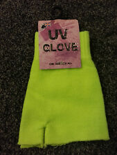 BNWT NEW Yellow UV Glow Warm Fingerless Gloves/Mittens Cold/Winter/Snow/Emo/Rave