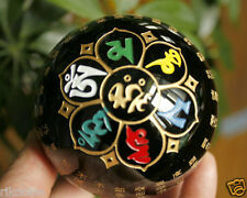 80mm Black Obsidian Crystal Heart Sutra of the Perfection of Wisdom Sphere Ball