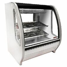 "NEW WHITE 39"" CURVED GLASS REFRIGERATED DELI BAKERY DISPLAY CASE MERCHANDISER"