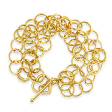 Gold-Plated Bronze 3-Row Circle Link & Heart Toggle Bracelet - 8.5""
