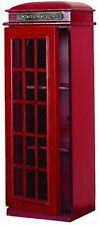 Benzara London Telephone Red Booth Cd- Dvd Holder Cabinet 30 95827 New