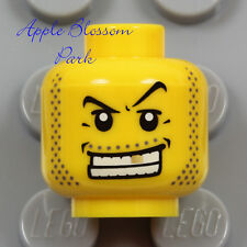NEW Lego Male Prisoner MINIFIG HEAD Black Pirate Beard Gold Tooth Gangster Agent