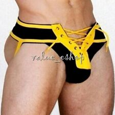 Men Athletic Supporter Jock Strap Sports Underwear Lace Up Briefs Thong Shorts M