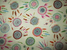 DREAM CATCHERS NATIVE AMERICAN CREAM COTTON FABRIC FQ