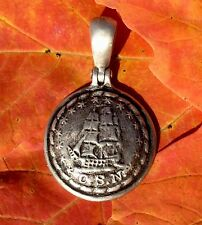 "Sterling Silver Confederate Navy""man-of-war"" Ship Button Civil War Relic Pendant"