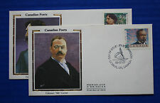 "Canada (1243-1244) 1989 Poets Colorano ""Silk"" FDC set"