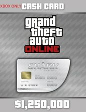 Grand Theft Auto V Online - White Shark Cash Card $1,250,000 [Xbox One, DLC] NEW