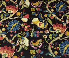 "P KAUFMANN HOLIDAY SPECIAL JET BLACK JACOBEAN FLORAL FABRIC BY THE YARD 54""W"
