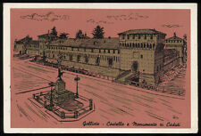 cartolina GALLIATE castello e monumento ai caduti