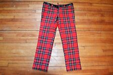 DSQUARED² RARE RED PLAID TARTAN WITH BLACK LEATHER WAIST CROPED PANTS S 4 40