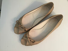 TOD'S Open-Toe Ballerina Flats Leather, SOFT GOLD COUPE DECOLLETE Size 36 1/2