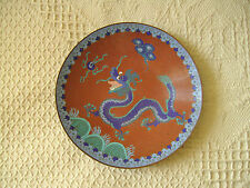 A LOVELY VINTAGE CHINESE CLOISONNE PLATE WITH FIVE TOED DRAGON