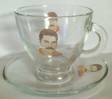 QUEEN Freddie Mercury CAPPUCCINO GLASS CUP AND SAUCER