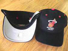 MIAMI HEAT NBA LOGO ATHLETIC VINTAGE ADJUSTABLE BACK ALL BLACK RETRO CAP HAT NWT