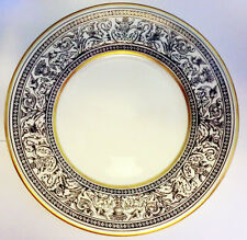 """Wedgwood Florentine Black  White & Gold no. W4312  6"""" Bread & Butter 1-Plate New"""