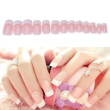 HOT 24pcs Manicure White Long French Style False Tips Fake Nails Stickers HUUS