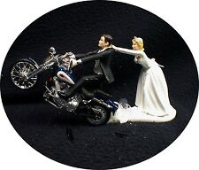 Motorcycle Wedding Cake Topper W/ SEXY Blue Harley Davidson Bike Funny Groom Top