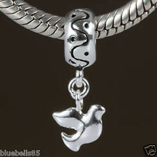 .925 Sterling SILVER PEACE DOVE Dangle BEAD For 3mm European CHARM BRACELET