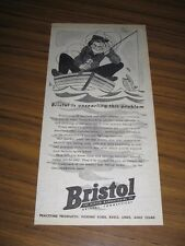 1945 Print Ad Bristol Fishing Tackle Man in Boat with Tangled Line Fish Cartoon