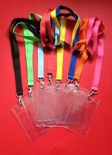 8 x VARIOUS COLOURS Lanyards clear id pass ticket holder SAFETY CLIP VIP KEY NEW