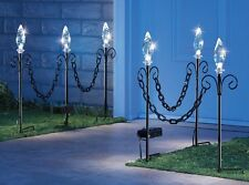 Set of 3 Solar Lighted Filigree Chain Link Outdoor Garden Pathway Stakes
