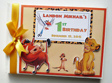 PERSONALISED LION KING BOY/GIRL /FIRST/1ST BIRTHDAY GUEST BOOK ANY DESIGN