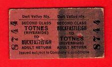 Dart Valley Railway Ticket - 2nd Return: Buckfastleigh to Totnes Riveside - 1972