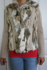 NEW Real Rabbit Fur Women's Knit Sweater Beige Jacket Coat size M Medium