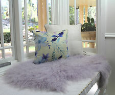 GENUINE LILAC PURPLE TIBETAN MONGOLIAN SHEEPSKIN FUR HIDE PELT THROW RUG