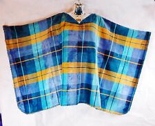 ~GROOVY GLAM Sherpa Lined Velvet Plush Women's Poncho 2016 BLUE PLAID Spring