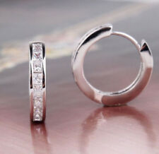 Chic NEW STERLING SILVER PLATED CZ SMALL ROUND HUGGIE HOOP EARRINGSLAL