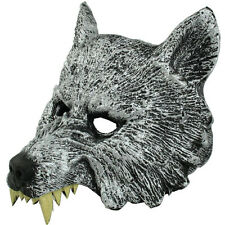 Latex Silver Wolf Head Face Mask for Halloween Cosplay Animal Prop Fancy Ball
