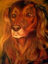 Irish Setter *golden retriever Dog on Canvas ORIGINAL Painting in Gold + Browns