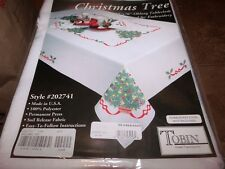 """Tobin Stamped Cross Stitch Embroidery Tablecloth CHRISTMAS TREE 58"""" ROUND"""