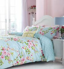 PINK BLUE ROSE FLORAL PRINTED COTTON BLEND SINGLE REVERSIBLE DUVET  SET