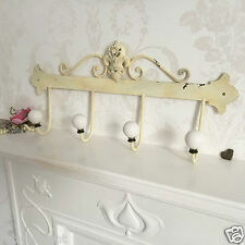 French Vintage Style 4 Ceramic Hooks Metal Coat Rack Shabby Chic Wall Mounted