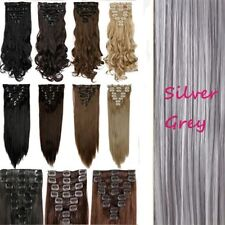 100% Real Natural Full Head Clip in Hair Extensions 18 clips on Straight Wavy ts