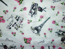 CLEARANCE FQ PARIS EIFFEL TOWER FRANCE ROSES FLOWERS FABRIC