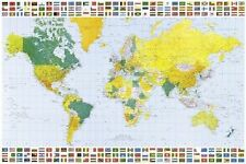 POSTER MAP OF THE WORLD EDUCATIONAL WALL CHART (61X91CM) LARGE POLITICAL NEW